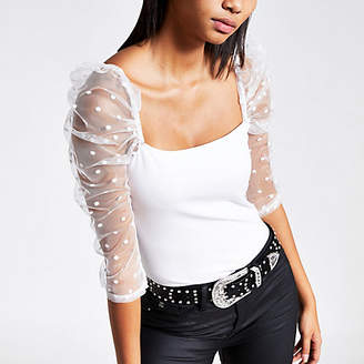 River Island White long polka dot mesh puff sleeve top
