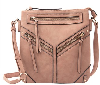 Violet Ray Double Compartment Angled Zip Crossbody - Tammy