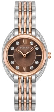 Bulova Women's Diamond Accent Two-Tone Stainless Steel Bracelet Watch 30mm 98R230
