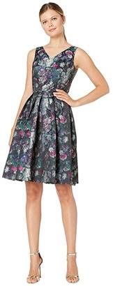 Tahari ASL Sleeveless Printed Jacquard Floral Dress (Black/Magenta/Green) Women's Dress