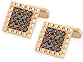 Roberto Coin Square Rock & Diamonds Cufflinks in 18K Rose Gold