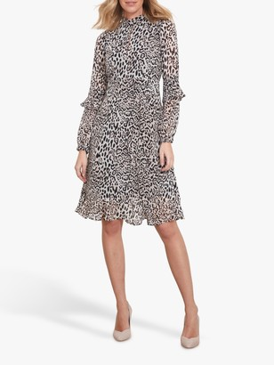 Sosandar Leopard Print Fit And Flare Ruffle Dress