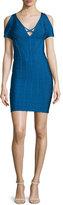 Herve Leger Cold-Shoulder Bandage-Knit Dress, Blue