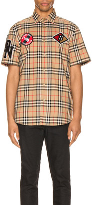 Burberry Combe Short Sleeve Shirt in Archive Beige IP Check | FWRD