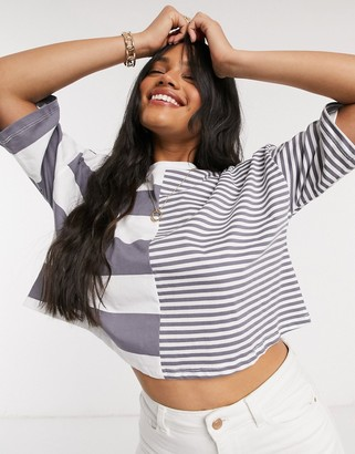 ASOS DESIGN cropped T-shirt in cutabout charcoal stripe