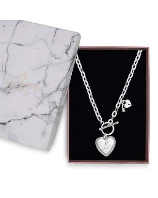 Lipsy Silver Plated Heart T Bar Necklace