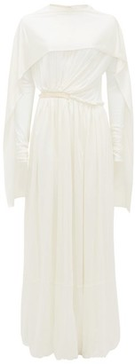 Jil Sander Caped Silk-jersey Maxi Dress - Ivory