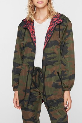 Pam And Gela Camo Animal Print Reversible Hooded Anorak Jacket