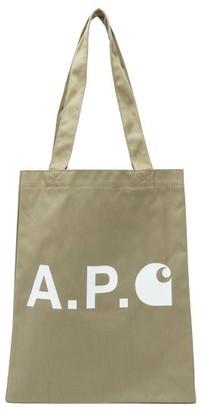 A.P.C. X Carhartt Small Logo-print Canvas Tote Bag - Mens - Khaki