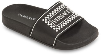 Versace Logo Embossed & Printed Slide Sandals