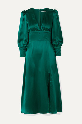Reformation Keats Silk-satin Midi Dress - Emerald