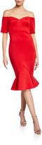Badgley Mischka Off-The-Shoulder Flounce-Hem Dress