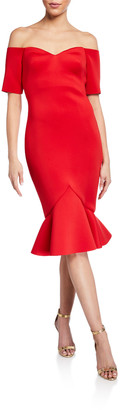Badgley Mischka Off-The-Shoulder Flounce-Hem Dress