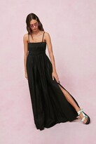 Thumbnail for your product : Nasty Gal Womens Shirred Square Neck Maxi Smock Dress - Black - 4