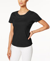 Karen Scott Cotton Braided-Trim Top, Created for Macy's