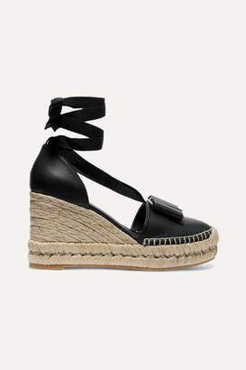 Salvatore Ferragamo Geranio Bow-embellished Textured-leather Wedge Espadrilles - Black