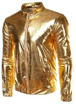 DLSCOLO Men's Metallic Front-Zip Thin Jacket (M, )