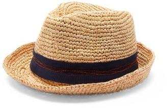 Lola Hats Tarboush Abstract-stitched Raffia Fedora Hat - Beige Navy