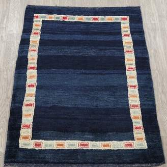 Augustine Isabelline One-of-a-Kind St. Bordered Gabbeh Persian Hand-Knotted 3' 5'' x 4' 7'' Wool Navy Blue/Blue Area Rug Isabelline
