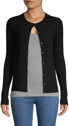 Pure Navy Textured Button-Front Cardigan