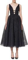 Carolina Herrera Sleeveless Dotted Tulle A-Line Dress, Navy