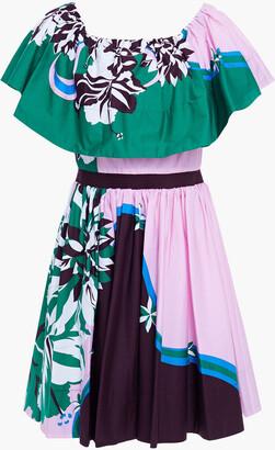 Emilio Pucci Off-the-shoulder Printed Stretch-cotton Poplin Mini Dress