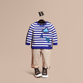Burberry Striped Cotton Merino Wool Sweater with Appliqué