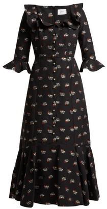 Erdem Opaline Ottman Fil-coupe Coton-blend Midi Dress - Womens - Black Multi