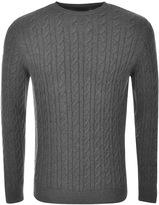 Barbour Cashmere Cable Knit Crew Neck Jumper Grey
