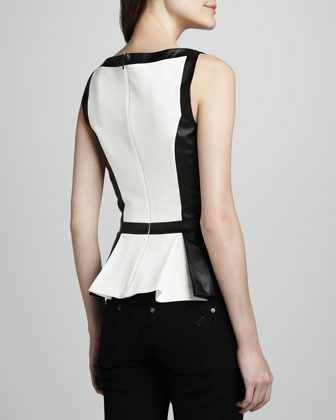 Robert Rodriguez Colorblock Faux-Leather Peplum Top
