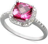 Townsend Victoria Sterling Silver Ring, Pink Topaz (1-3/4 ct. t.w.) and Diamond (1/10 ct. t.w.) Cushion Cut Ring