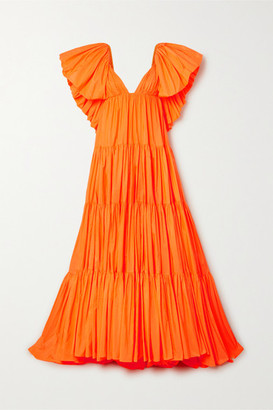 Valentino Tiered Ruffled Poplin Gown - Orange