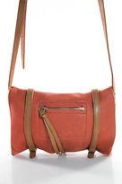 Linea Pelle Orange Tan Leather Small Buckle Strap Crossbody Flap Handbag