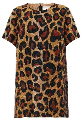 Ashish Leopard Sequinned Georgette Mini Dress - Leopard