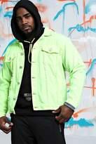 BoohooMAN Big & Tall Quavo Distressed Denim Jacket