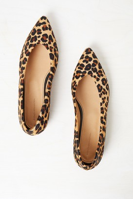 French Connenction Naya Pointed Leopard Print Flats