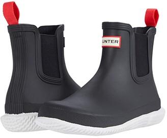 Hunter Chelsea Calendar Sole Boots Black/White) Women's Shoes