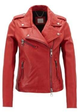 BOSS Asymmetric biker jacket in nappa lambskin leather with teddy lining