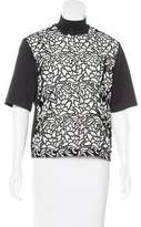 Sandro Lace Mock Neck Top