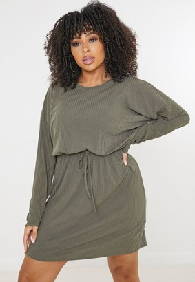 Missguided Plus Size Khaki Rib Tie Waist T Shirt Dress