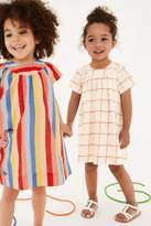 Next Girls Grid Dress (3mths-6yrs) - Cream