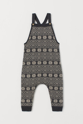 H&M Jacquard-knit Overalls - Gray