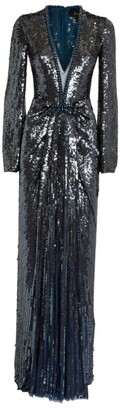 Jenny Packham Sequin Ruched Everly Gown
