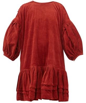 story. Mfg - Verity Dipped-hem Organic Cotton-corduroy Dress - Womens - Red
