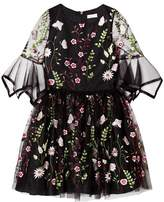 David Charles Black Embroidered Floral Dress with 3/4 Sleeves