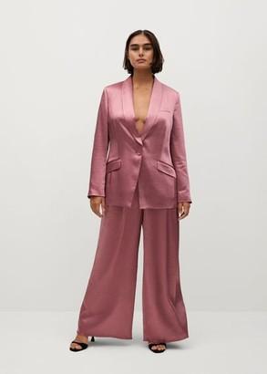 MANGO Textured satin tuxedo blazer