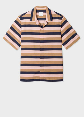 Men's Tailored-Fit Pink, Navy And Brown Stripe Short-Sleeve Shirt