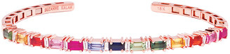 Suzanne Kalan 18k Rose Gold Rainbow Sapphire & Diamond Baguette Bangle, Size Medium