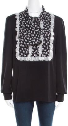 Dolce & Gabbana Monochrome Small Flower Print Silk Ruffled Bib Blouse M