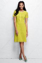 Classic Women's Petite Short Sleeve Lace Sheath Dress-Midnight Indigo Stripe